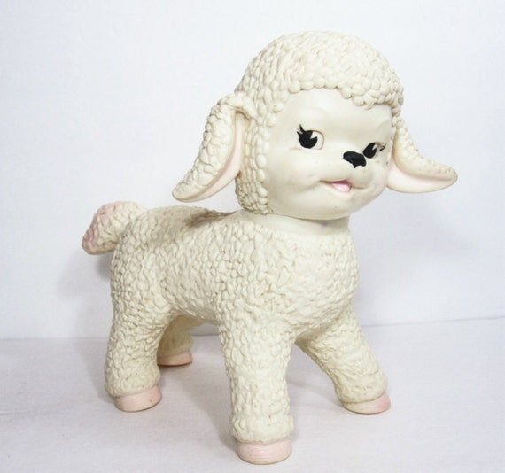 Vintage Toy Lamb Sun Rubber Company 1960s Animal Sheep White Pink PeachyChicBoutique on Etsy
