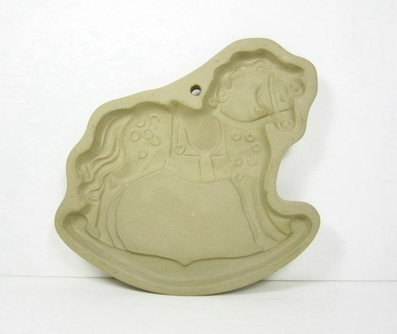 Vintage Brown Bag Cookie Chocolate Paper Mold Press Cutter Rocking Horse Holiday PeachyChicBoutique on Etsy