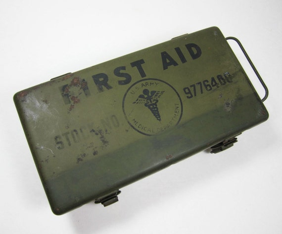 Vintage Army Military WWII First Aid Medical Kit Steel Box Field Gear Equipment PeachyChicBoutique on Etsy