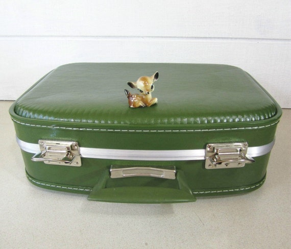 Vintage Suitcase Avocado Green Small Tote Home Decor Storage Mirror PeachyChicBoutique on Etsy