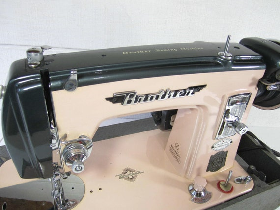 Vintage Sewing Machine PINK Brother 1950's Emblem USA Motor Electronics Japan PeachyChicBoutique on Etsy