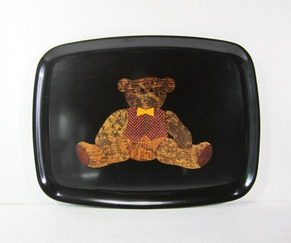 Vintage Couroc Tray Teddy Bear Black Wood Brass Sticker Collectible Home Decor PeachyChicBoutique on Etsy