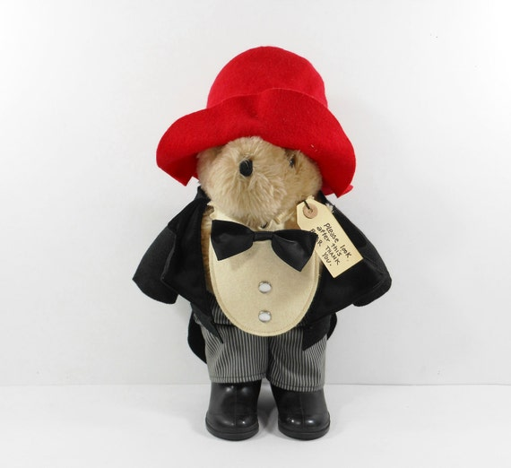 Vintage Paddington Bear Teddy Bear Tuxedo Tails Black Boots Red Felt Hat PeachyChicBoutique on Etsy