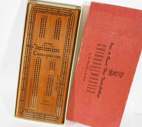 Vintage Large Cribbage Board Original Box Three Track CRIBBAGEMASTER USA PeachyChicBoutique on Etsy