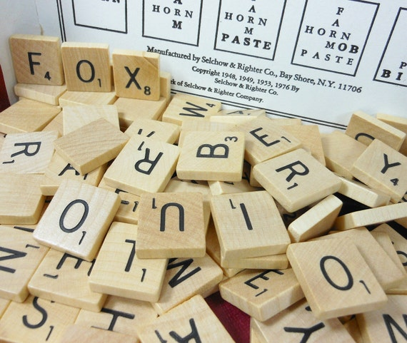 Vintage Scrabble Tiles 100 Wooden Letters Game Pieces Jewelry Supply Alphabet PeachyChicBoutique on Etsy