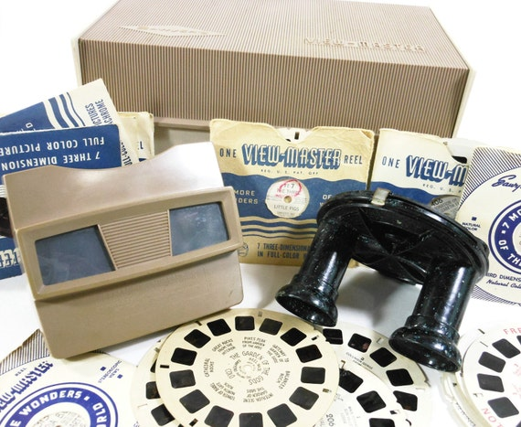 Vintage View Master Collection Bakelite Black Cartoon Reels 1960 Sawyer View Master Box Paper Envelopes PeachyChicBoutique on etsy