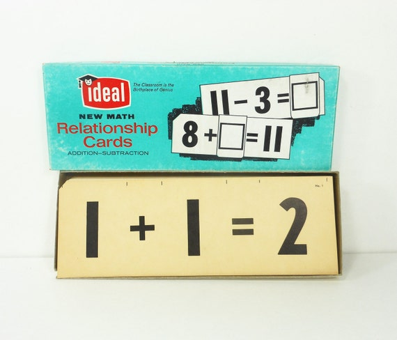 Vintage Flash Cards Math Ideal Addition Subtraction Educational 1963 School Supply PeachyChicBoutique on Etsy