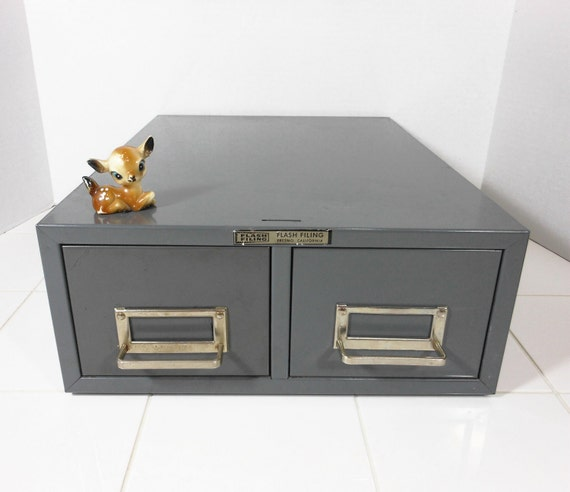 Vintage Industrial File Cabinet Steel Master Double Drawer Metal Office Supply Grey Storage Box USA PeachyChicBoutique on Etsy