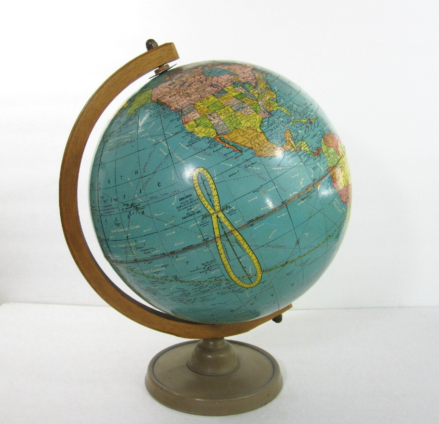 Vintage World Globe Stand Mid Century Crams Teal Wood
