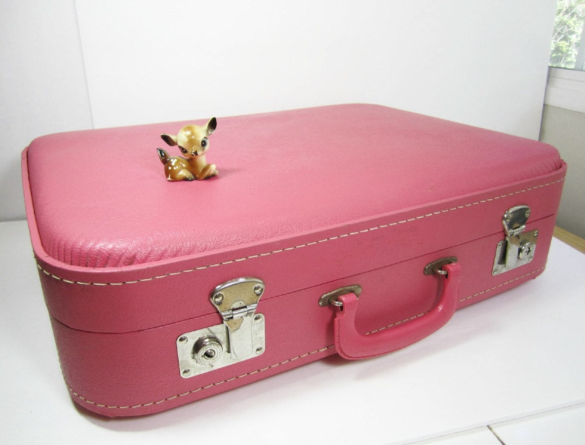 Vintage suitcase luggage pink medium size travel home decor - Vintage suitcase ...