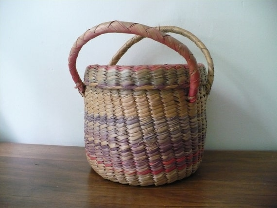 Vintage Woven Basket with Lid and Handles Muted Colors