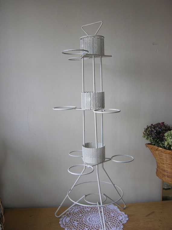 Plant Stand Chippy White Paint Mid Century Pot Holder
