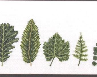 Leaf Line-up Cross Stitch