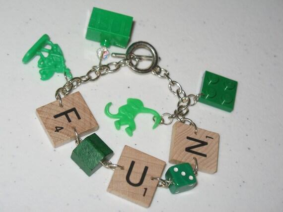 Scrabble Charm Bracelet FUN Green Monopoly, LEGO, Risk, Dice, Barrel Full of Monkeys