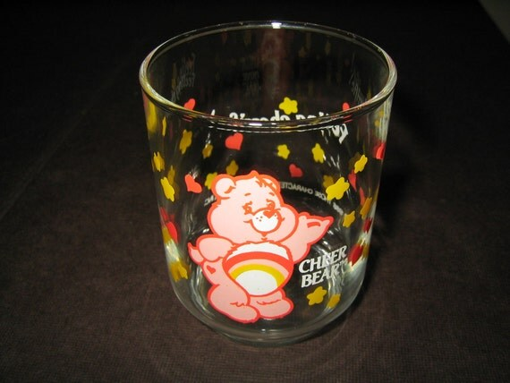 Vintage Care Bears Glass Cheer Bear Tiny for Juice or Votive Candle Holder 1986 80s promo Valentine's Day Pink with Red Hearts and Stars