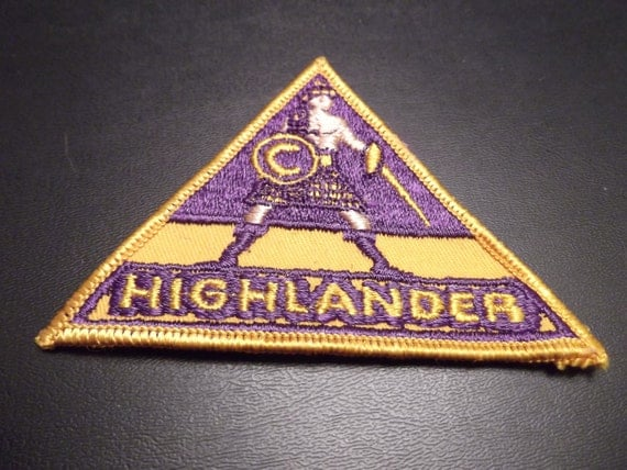 Vintage Highlander Triangle Patch Purple/Gold Scottish emblem kilt warrior 70s