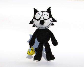 PDF Amigurumi pattern - Felix the Cat inspired doll