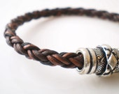 Leather Bracelet Brown Braided Leather with Magnetic Clasp