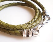 Green Triple Wrap Leather Bracelet with S Hook Clasp
