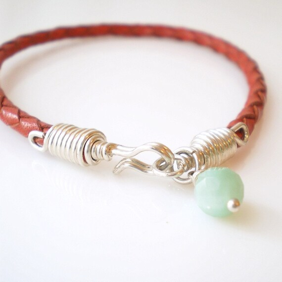 Red Leather Bracelet with Silver Wire Wrapped Clasp and Your Choice of Charm or Gemstone Drop