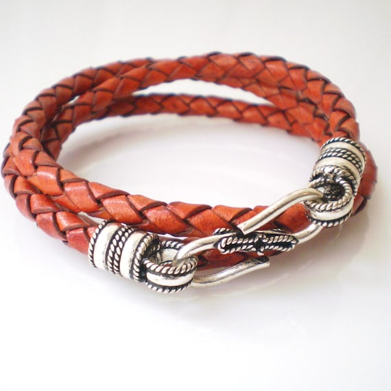 Leather Bracelet Rust Red Triple Wrap Braided Leather with S Hook Clasp
