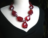 Quartz Necklace / Lampwork  Beads /  Crimson Ice