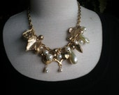 Vintage Charm  Necklace and Bracelet  -  Pearls On A Golden Morning
