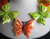 Vintage Repurposed Brooch  Butterfly Necklace -  Flight Of The Butterflies - SALE - 20% OFF with coupon code BLKFRICYBMON