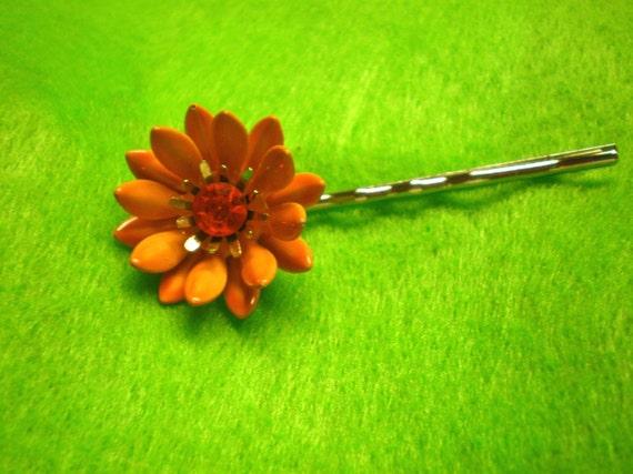 Hair Pin / Orange Enamel Rhinestone / Repurposed - On Sale
