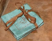 TURQUOISE  TEA  time fabric coasters with unique hidden stitch (BLUE-Brown ) 4 pcs