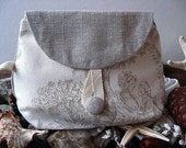 PARIS Collection  FRENCH NATURAL LINEN Cosmetic Bag ( Cream - Kaki )  With Cotton Button Closure VINTAGE Cotton lining