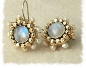 mandalla moonstone and pearls earrings