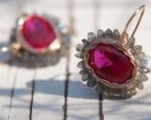 Labradorite Flower Earrings, Flower Jewelry, Hot Pink Zircon Earrings, Feminine Jewelry, Handmade Jewelry