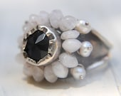 Statement Moonstone Ring, Onyx and Moonstone Black and White Flower Handcrafted Ring, Onyx Ring, Moonstone Jewelry, Black Jewelry