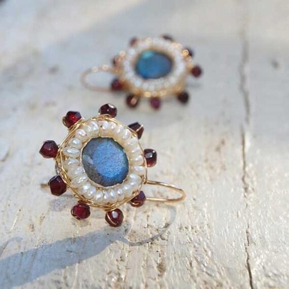 Labradorite Pearl and Garnet Mandala Earrings, Pearl Jewelry, Pearl Earrings, Garnet Earrings, Labradorite Jewelry, Unique Earrings