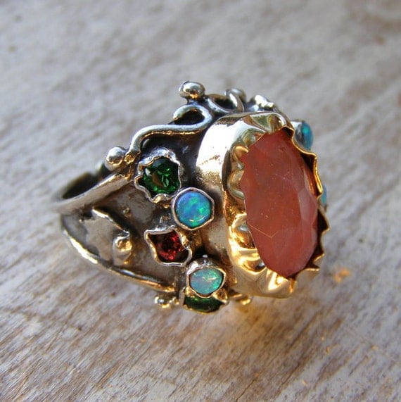 October Birthstone, Gold Silver Cherry Quarts Queen Ring, Handmade Jewelry, Vintage style Ring, Gemstone Jewelry, Opal Ring