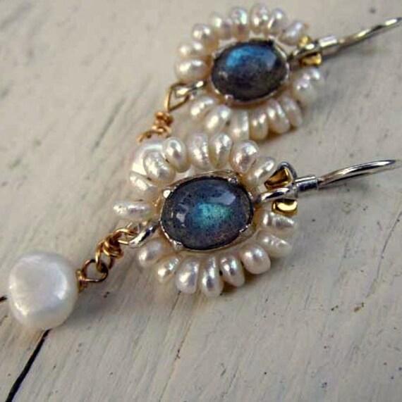 Bridal Wedding Earrings, Labradorite Earrings, Labradorite Flower Earrings with Pearl, Pearl Jewelry