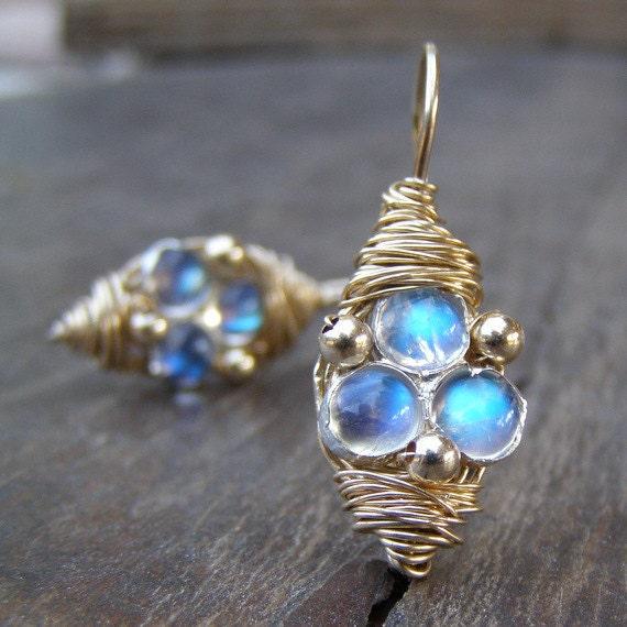Moonstone Earrings,  Moonstone Wire Wrapped Earrings, Moonstone Jewelry, 14K gold filled, Third Eye Moonstone Earrings