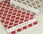 personalized note cards stationery set -latticework pattern (8) CHOOSE color