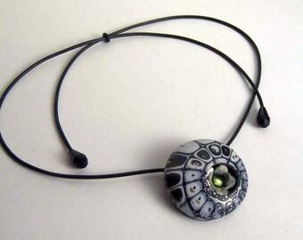 Black shimmer Web with hidden garden - pendant