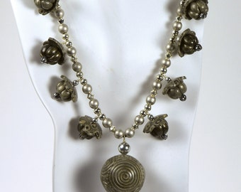Bold Pewter Coil Mosaic Necklace