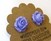 Flower Earrings In Lavender Purple