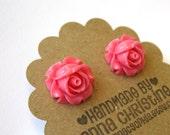 Bright Pink Romantic Flower Post Earrings