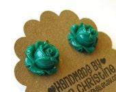 Romantic Emerald Green Flower Post Earrings