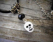 Sale - Simple skully necklace in black and white