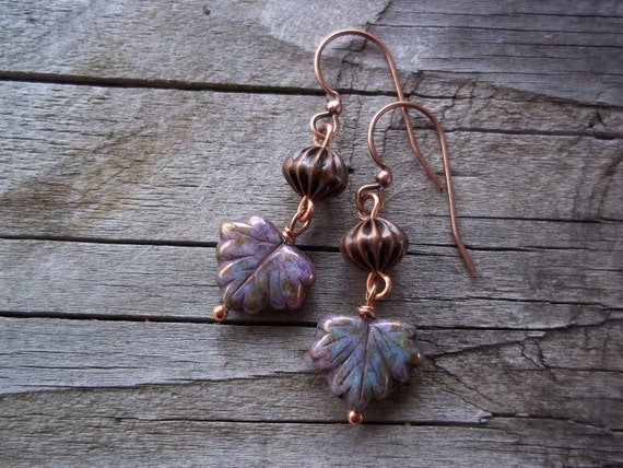 RESERVED for Alicia - Purple Copper autumn leaves earrings