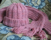 HAT SCARF SET - Adult - Hand-Knitted, Dusty Pink and Lilac