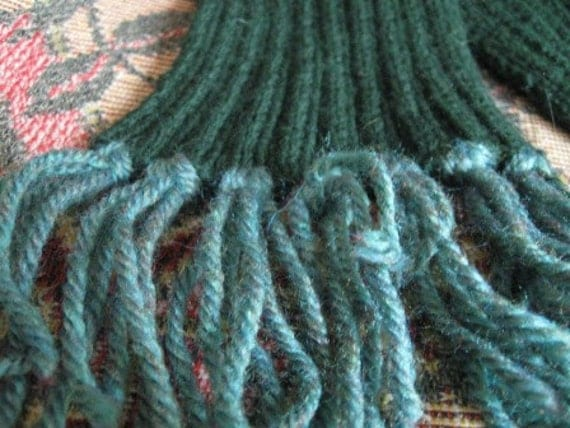 HAND-KNITTED Child SCARF: 25in x 3.5in Dark Green, Light Green Tassels