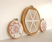 Vintage Trio Burlap Embroidery Hoop Crochet Fabric Country Farmhouse Flowers Rustic Shabby Chic by LeeLeesCloset on Etsy