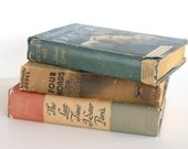 Vintage Trio of Shabby Chic Hardcover Books Blue Grey Beige Rustic Farmhouse by LeeLeesCloset on Etsy